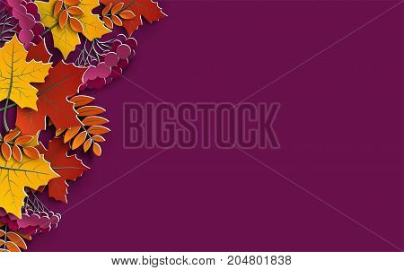 Autumn floral background with colorful silhouettes of tree leaves on yellow background design elements for the fall season banner poster flyer or thanksgiving greeting card vector illustration