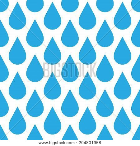 Blue rain drop seamless pattern background. Water and bad weather theme. Vector illustration.