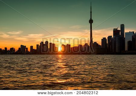 Toronto skyline at beautiful sunset,Toronto, Ontario, Canada.