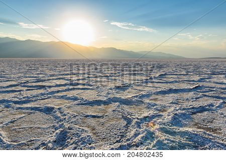 Death Valley National Park, Salt Badwater at sunset, California.
