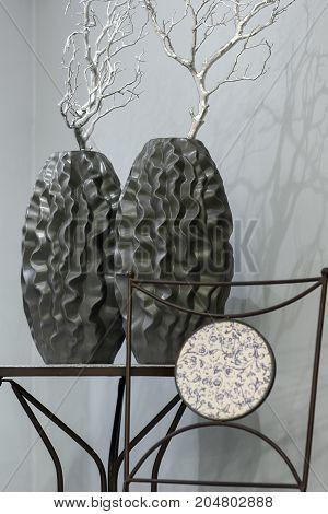 Dark Decorative Vase With Silver Branch