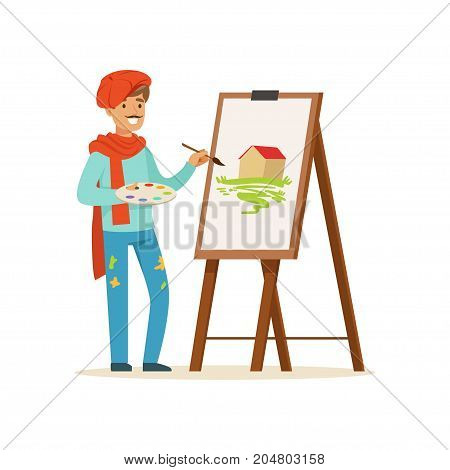 Male painter artist character with mustache wearing red beret painting picture of landscape standing near easel vector Illustration on a white background