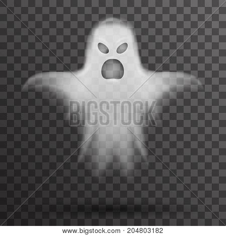 Ghost halloween scary isolated template transparent night background vector illustration