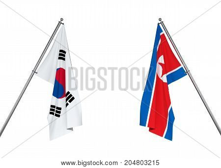 South Korea flag and North Korea flag on white background with clipping path. 3D illustration