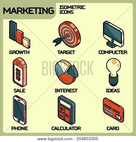 Marketing color outline isometric icons. Vector illustration, EPS 10