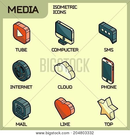 Media color outline isometric icons set. Vector illustration, EPS 10