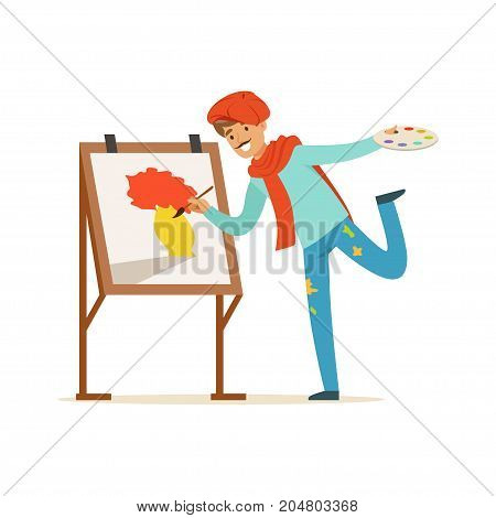 Male painter artist character with mustache wearing red beret painting vase of flowers standing near easel vector Illustration on a white background
