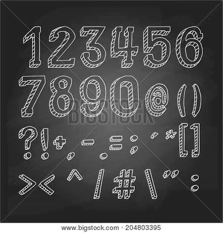 Numbers and symbols on chalkboard. Vector illustration, EPS 10