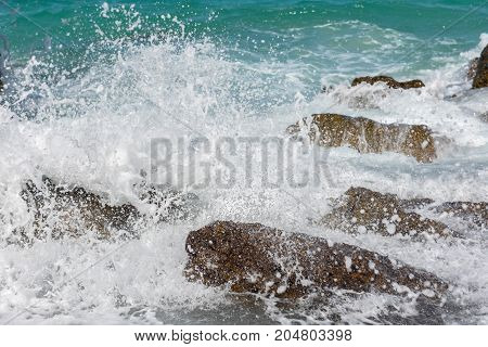 amazing nature background.The color of the water and beautifully bright.Azure beach with rocky mountains and clear water of Thailand ocean at sunny day. Koh Lan Thailand.On a clear day.