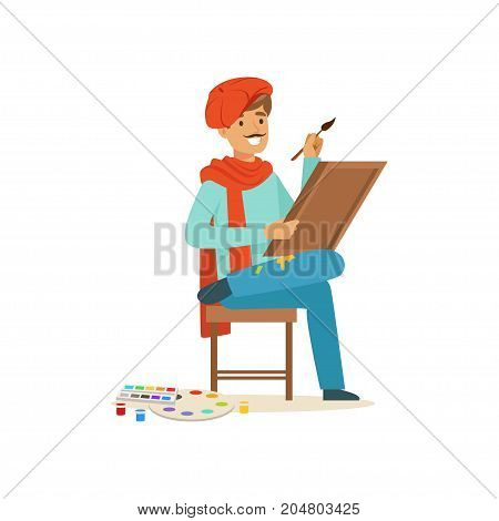 Smiling male painter artist character wearing red beret sittting on the chair and painting on canvas vector Illustration on a white background