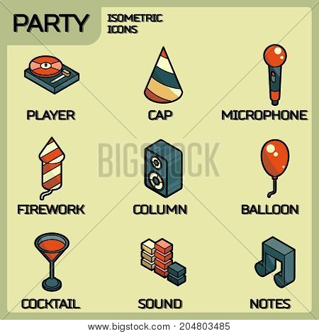 Party color outline isometric icons set. Vector illustration, EPS 10