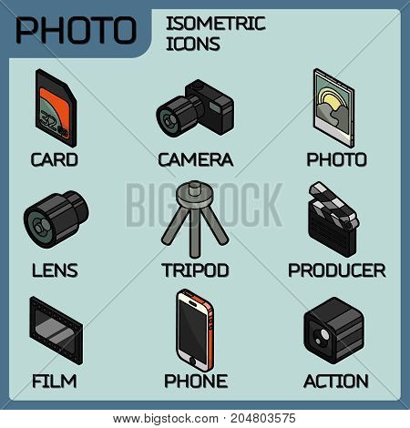 Photo color outline isometric icons. Vector illustration, EPS 10