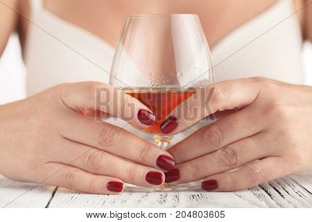 Sexy Beautiful Woman Holding Glass Of Whisky Bourbon