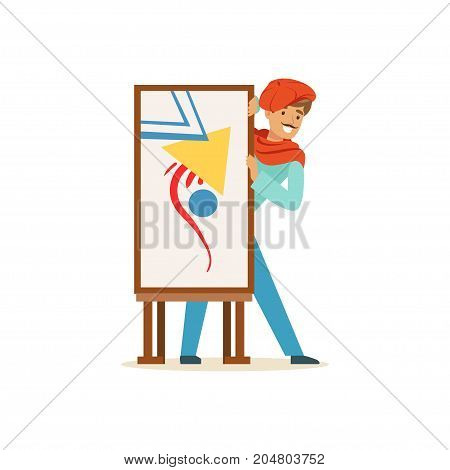 Smiling male painter artist character wearing red beret presenting his painting vector Illustration on a white background
