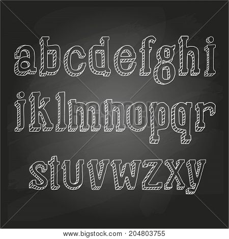 Small letters hand drawn on a chalkboard. Vector illustration, EPS 10