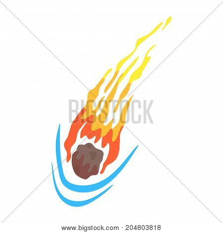 Comet or meteor falling, element of Solar system cartoon vector Illustration on a white background