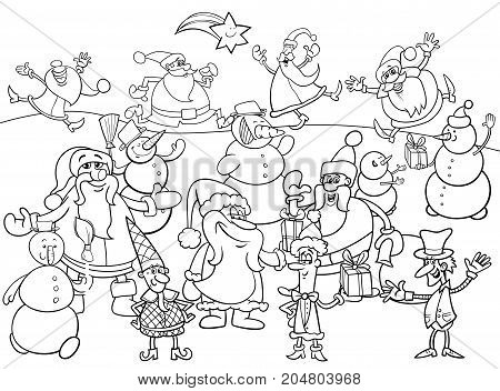 Christmas Characters Group Coloring Book