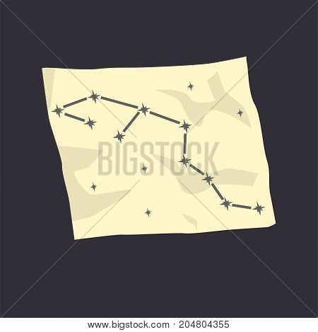 Map of the starry sky cartoon vector Illustration on a black background