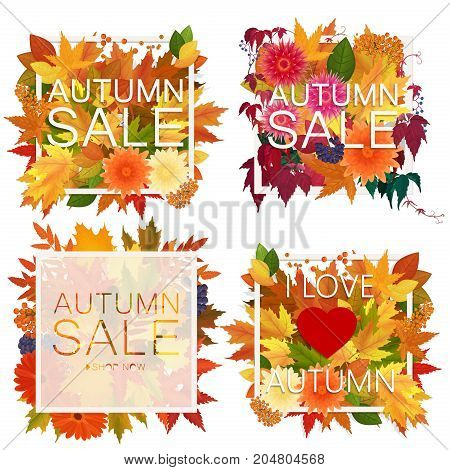 Set of realistic autumn sale announcement in frame with bright foliage leaves and flowers