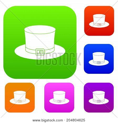 Leprechaun hat set icon color in flat style isolated on white. Collection sings vector illustration