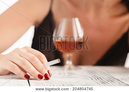 Wasted And Depressed Alcoholic Woman Drinking Red Wine Glass Looking Desperate And Sad