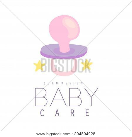 Baby care logo design, emblem with baby pacifier, label for kids club, baby or toys shop and any other children projects colorful vector Illustration on a white background
