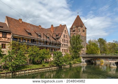 Schuldturm Tower (Debtor prison) built in 1323 Nuremberg Bavaria Germany. View from Pegnitz river