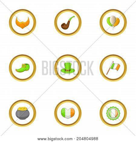 Irish day icons set. Cartoon style set of 9 Irish day vector icons for web design