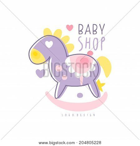 Baby shop logo design, emblem with rocking horse toy, label for baby products store, toys shop and any other children projects colorful hand drawn vector Illustration on a white background