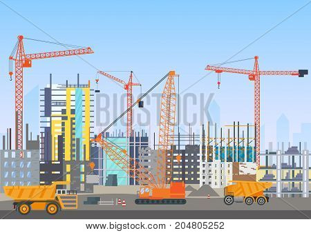 Building city under construction architecture website with tower cranes. Building work process with construction machines. Vector illustration