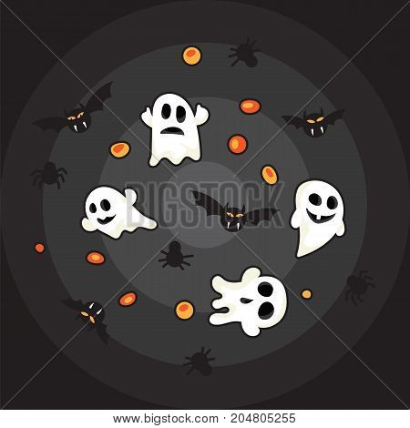 Pattern halloween bats, halloween ghost and hallowen orange pumpkin on black background.