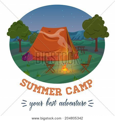 Camping illustration of summer forest in mountains, tent, fireplace with text in night. Vector illustration