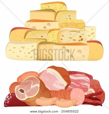 Piles of different realistic delicacy cheeses and appetizing meat isolated on white