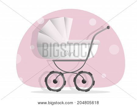 Baby stroller for girls, Isolated on white background. Cartoon pram vector illustration. Trendy style for graphic design, Web site, social media, user interface, mobile app.