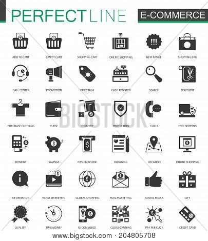 Black classic E-commerce shopping icons set isolated