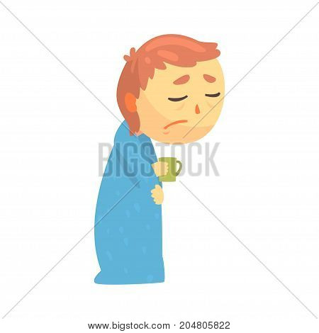 Sick boy character with flu wrapped in a blanket holding a cup cartoon vector illustration isolated on a white background