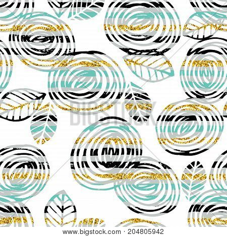 Abstract floral seamless pattern with roses on striped background. Trendy hand drawn textures. Modern abstract design for paper, cover, fabric, interior decor and other users.