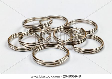 metal rings for handmade on a white background