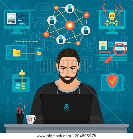 Vector illustration of bearded hacker thoughtful man thinking at table.