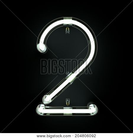 Number 2, Alphabet made from Neon Light on black background. 3D illustration