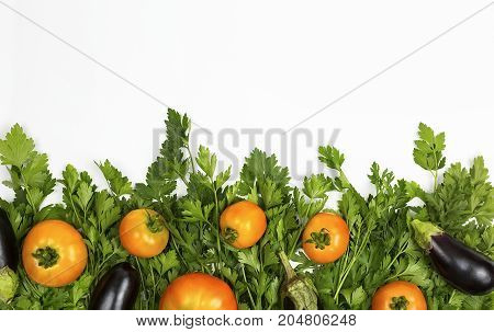 Parsley eggplant peppers and spices on a white background, eggplants lie on parsley. background for cooking