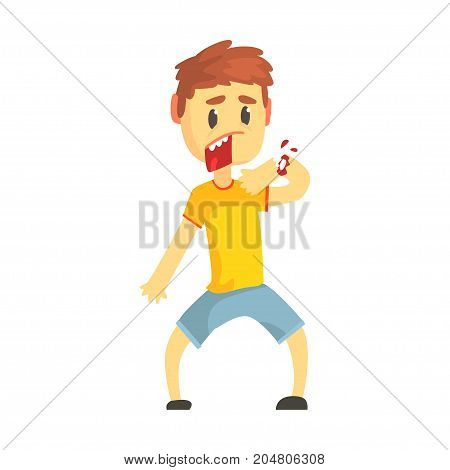 Frightened boy with broken hand with blood cartoon character vector illustration isolated on a white background