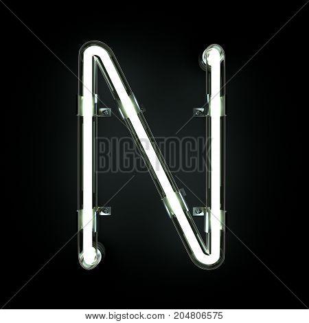 Neon Light Alphabet N on black background. 3D illustration