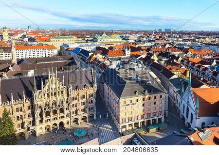Munich, Germany - December 26, 2016: Aerial panoramic view and city skyline in Munich, Germany