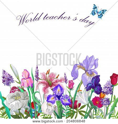 Tender floral teacher day template with butterfly, vector hand drawn design on white stock art