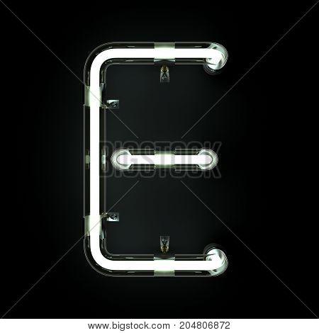 Neon Light Alphabet E on black background. 3D illustration
