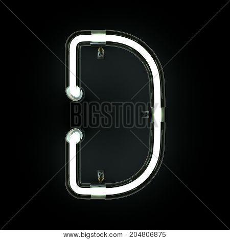 Neon Light Alphabet D on black background. 3D illustration