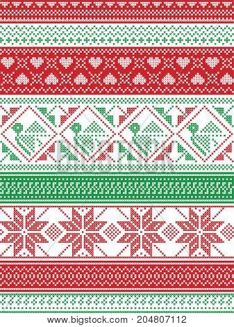 Nordic style and inspired by Scandinavian Christmas pattern illustration in cross stitch in red and white, green including Robin , snowflake, heart, stars, and decorative seamless ornate patterns