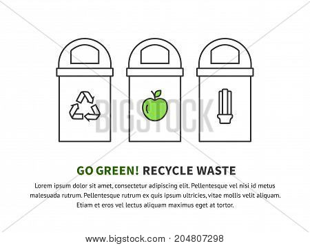 Recycle bin vector icon banner. Reuse or reduce symbol.