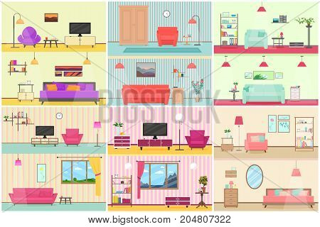 Vector illustration of various interiors of living room
